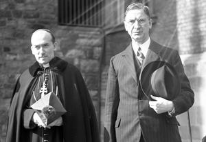 Archbishop McQuaid and Taoiseach Eamon de Valera in 1940. The State was once accused of aligning itself too closely to the Catholic Church – its devotion to the 'Yes' vote displays a similar ideological dogmatism