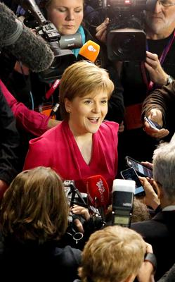 SNP leader Nicola Sturgeon as she arrives at the General Election count for Glasgow constituencies at the Emirates Arena in Glasgow. Photo: Danny Lawson/PA Wire