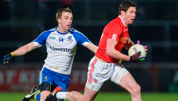 Monaghan's Jack McCarron chases down Tyrone's Sean Cavanagh. Photo: Sportsfile