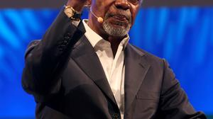 Kofi Annan speaks at the  One Young World 2014 at the Convention centre in Dublin