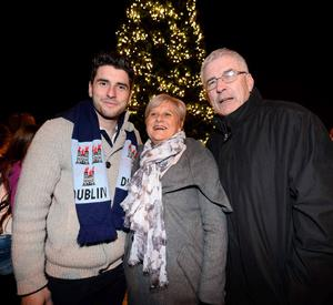 Bernard Brogan and his parents in Kerry for the lights coming on.