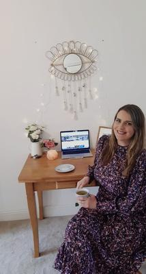 Amanda Lacey has been working from home for three weeks and plans to enjoy a few tipples with friends virtually