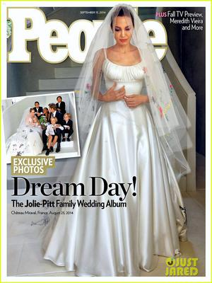 The wedding of Angelina Jolie and Brad Pitt featured on the front page of People magazine