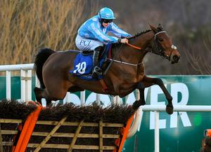 Honeysuckle, with Rachael Blackmore up, jumps the last on their way to winning the PCI Irish Champion Hurdle at Leopardstown. Photo: Matt Browne/Sportsfile