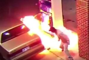 A man accidentally sets a petrol station on fire due to his fear of spiders