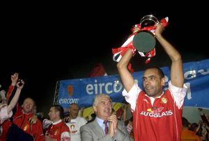 Osam lifting the League Cup for St.Pats in 2003