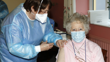 The HSE's Ber Browne administering the Covid-19 vaccination to Sr. M. Celestine of Charleville Sheltered Housing Services last week