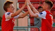Chris Forrester celebrates with Ian Bermingham after scoring for St Patrick's Athletic against Longford Town