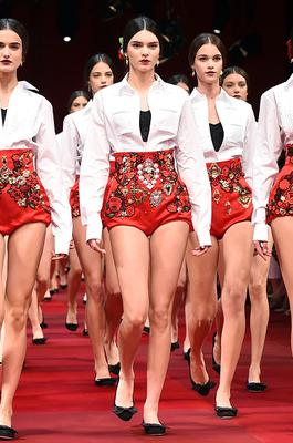 Kendall Jenner walks the runway during the Dolce & Gabbana Show as part of Milan Fashion Week Womenswear Spring/Summer 2015