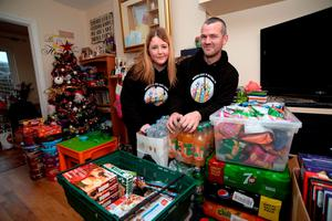 Edel and Bryan Campbell, from North County Outreach, with some of the items to give to the homeless. Balbriggan, Co. Dublin. Picture: Caroline Quinn