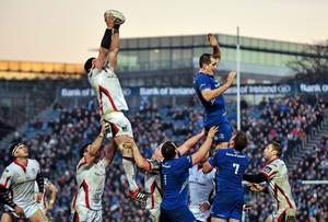 Ulster's Dan Tuohy wins possession in a lineout over Devin Toner of Leinster during their Guinness Pro12 clash at the RDS. Photo: Cody Glenn / SPORTSFILE