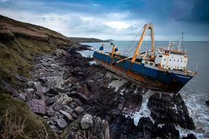 The MV Alta was driven onto rocks near Ballycotton by Storm Dennis on February 15. Photo: CATHAL NOONAN/AFP via Getty Images