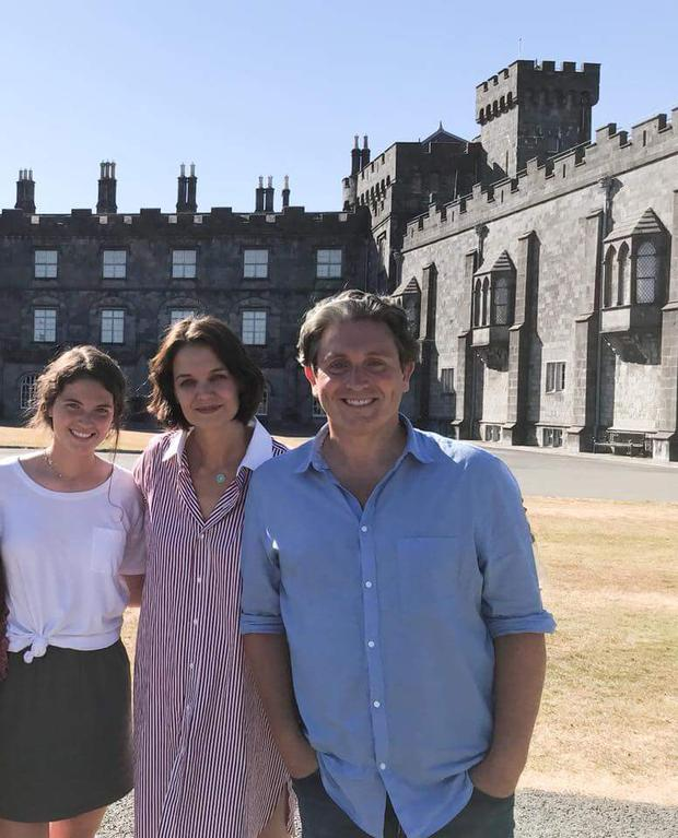 Katie Holmes with Brendan Morrissey and a friend in Ireland. Picture: Kilkenny Castle/Facebook