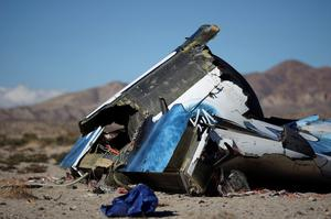 Wreckage from the crash of Virgin Galactic's SpaceShipTwo lies in the desert near Cantil, California