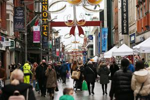 Shoppers in the city after restrictions were eased. Photo: Stephen Collins/Collins Photos