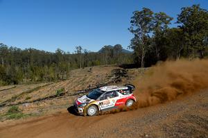Kris Meeke of Great Britain and Paul Nagle of Ireland compete in their Citroen Total Abu Dhabi WRT Citroen Ds3 WRC during the Shakedown of the WRC Australia today
