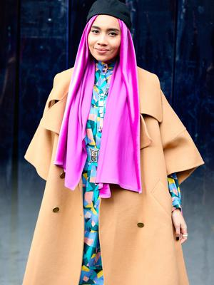 Singer-songwriter Yunalis binti Mat Zara'ai, also known as, Yuna, is seen outside of the Coach 1941 show during New York Fashion Week on February 11, 2020 in New York City. (Photo by Donell Woodson/Getty Images)
