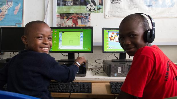 Students Mohammed Abdallah and Mbarak Abdul pictured at the Tom Mboya Primary School, Mombasa (Photo: Denise Calnan)