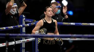 22 August 2020; Katie Taylor prior to her Undisputed Lightweight Titles fight against Delfine Persoon at Brentwood in Essex, England. Photo by Mark Robinson / Matchroom Boxing via Sportsfile