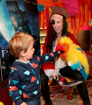 Aisling O'Loughlin and her son Patrick  as they celebrated  International Pirate Day and upcoming Warner Bros. family adventure PAN in Eason Dundrum. Picture: Brian McEvoy