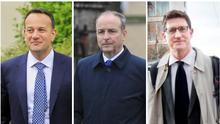 Party leaders: Leo Varadkar, Micheal Martin and Eamon Ryan