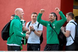 Paul O'Connell, Tommy Bowe, Rob Kearney and Luke Fitzgerald are pictured on the team's arrival at Dublin Airport. Photo: Brendan Moran / SPORTSFILE