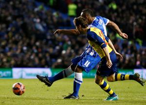 Brighton and Hove Albion's Chris O'Grady (11) scores a goal against Arsenal during their FA Cup fourth round soccer match at the Amex stadium in Brighton, southern England January 25, 2015.    REUTERS/Stefan Wermuth (BRITAIN - Tags: SPORT SOCCER)