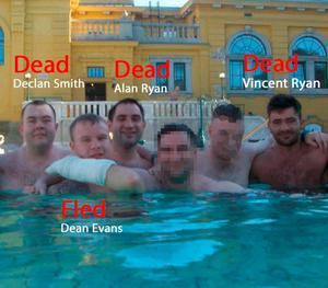 Dean Evans poses in a pool with his deceased friends Declan Smith, Alan Ryan and Vincent Ryan