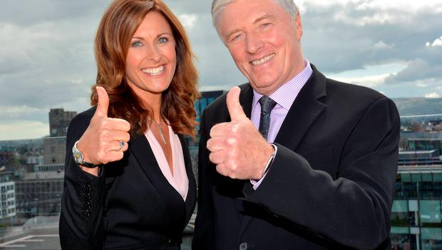 Broadcasters Alison Comyn and Pat Kenny celebrate the launch of UTV Ireland in August 2014