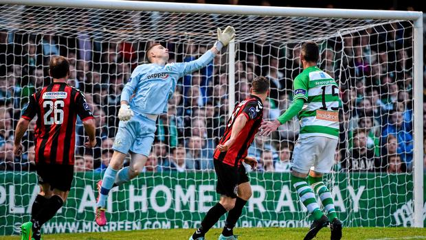 12 June 2015; Dean Kelly, Bohemians, watches as the ball drops under the crossbar to score his side's second goal of the game. SSE Airtricity League Premier Division, Bohemians v Shamrock Rovers. Dalymount Park, Dublin. Picture credit: David Maher / SPORTSFILE