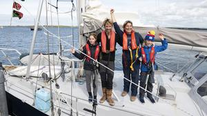 Adventurers' return: Peter and Vera Quinlan-Owens with their children Ruairí and Lilian after completing their adventure of a lifetime sailing to the Caribbean and back. Photo: Andrew Downes
