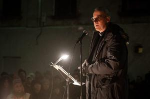 NEW YORK, NY - FEBRUARY 05:  Father Jim Martin speaks during the Candlelight Vigil For Philip Seymour Hoffman at the Labyrinth Theater Company on February 5, 2014 in New York City.  (Photo by D Dipasupil/Getty Images)