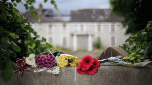 In memory: Flowers laid in front of Glenwood House, Lucan, where Ana Kriegel died. Picture: Mark Condren