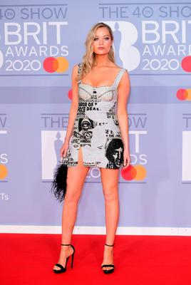Laura Whitmore arriving at the Brit Awards 2020 held at the O2 Arena, London. PA Photo. Picture date: Tuesday February 18, 2020