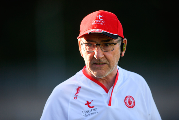 30 June 2018; Tyrone manager Mickey Harte during the GAA Football All-Ireland Senior Championship Round 3 match between Cavan and Tyrone at Brewster Park in Enniskillen, Fermanagh. Photo by Eóin Noonan/Sportsfile