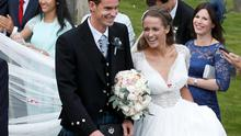 Tennis player Andy Murray leaves the cathedral after his wedding to his fiancee Kim Sears in Dunblane, Scotland, April 11, 2015   REUTERS/Russell Cheyne