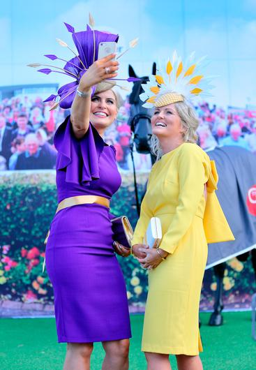 Corinna Hynes from Sligo and Tracy McGuinness, Donegal, at the opening evening of the Galway Races. Picture: Frank McGrath