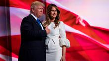Republican presidential candidate Donald Trump gives a thumbs up after his wife Melania spoke during the Republican National Convention