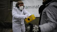 Anti-Nuclear protesters use a Geiger counter to measure the radioactive contamination of a citizen on March 9, 2013 in Hildesheim, Germany. Photo: Getty