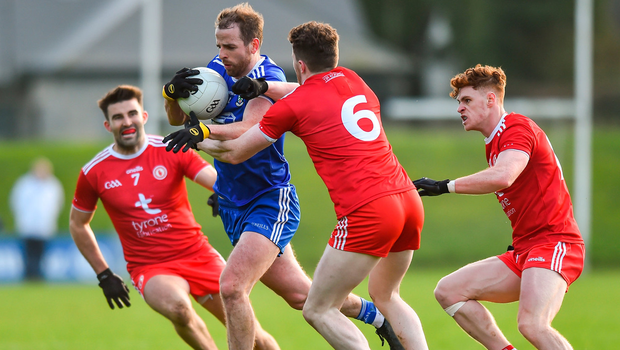 Conor Boyle of Monaghan in action against Tiernan McCann, Rory Brennan and Conor Meyler of Tyrone. Photo by Oliver McVeigh/Sportsfile