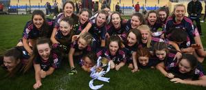 Moate CS players celebrate following the Lidl All-Ireland Junior B Final win over Coláiste Oiriall in April 2019. They still hope to be able to play in the senior 'A' final against Loreto Clonmel. Photo: Sportsfile