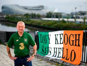 Ireland superfan Davy Keogh with his banner. Photo: Stephen McCarthy/Sportsfile