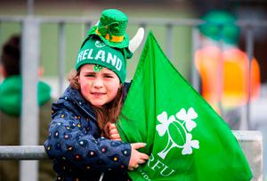 Ireland fan Aibhe Twomey from Cork before the Women's 6 Nations match between Ireland Women and England Women at Donnybrook Picture: PA