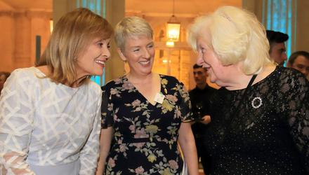 Anniversary: Mary Kennedy and Maggie Hayden, director of the Dublin Samaritans, chat with Mary MacMurrough, the longest serving member of the Samaritans. Photo: Frank McGrath