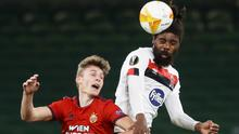 Rapid Vienna's Lion Schuster in action with Dundalk's Nathan Oduwa during their Europa League Group B clash at the Aviva Stadium. Photo: Reuters/Lorraine O'Sullivan