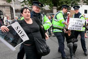 Protests at the first sitting of the Dail following its summer break at Leinster House on Kildare Street Dublin. Photo:  Gareth Chaney Collins