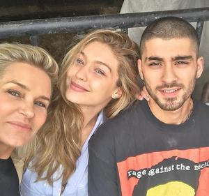 Yolanda Hadid with her daughter Gigi and boyfriend Zayn, who are expecting their first child together. Picture: Instagram