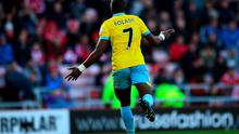 Yannick Bolaise celebrates after scoring his third goal at Stadium of Light