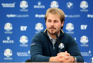 Victor Dubuisson speaks at a press conference ahead of the Ryder Cup at Gleneagles this weekend. Photo: Ross Kinnaird/Getty Images