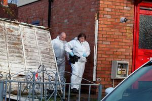 """Forensic officers search a property in Wilton Close, Bristol, in connection with missing Rebecca Watts, after her family said they were """"prepared for the worst"""" as searches for the quiet 16-year-old continue. PRESS ASSOCIATION Photo. Picture date: Sunday March 1, 2015.  Avon and Somerset Police this afternoon arrested two people in connection with the disappearance of the youngster, also known as Becky. It came after more than 100 people gathered to conduct their own search of land in the Fishponds area of Bristol near where Becky lived, during which part of a laptop was discovered and handed to murder probe detectives. See PA story POLICE Missing. Photo credit should read: Steve Parsons/PA Wire"""